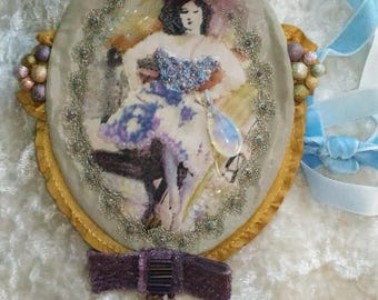 Mixed media brooch, Art brooches, Shabby brooch, Textile brooch, Fabric brooch, Textile jewelry, Lace brooch, OOAK brooch, Costume brooch