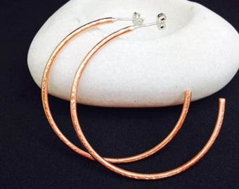 Copper Hoop Earrings Copper & Sterling Silver Boho Earrings Uk