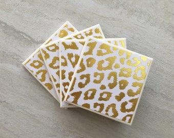 Animal Print Coasters, Gold Coasters, Ceramic Coasters, Tile Coasters, Coaster Set, Coasters, Handmade Coasters