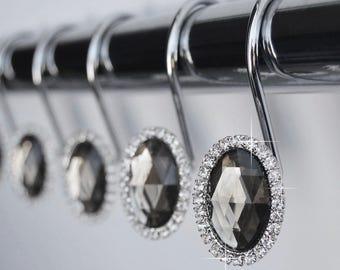 Shower Curtain Hooks Rings   Oval Gray Decorative Crystal Diamond Bling  Rhinestones Bathroom Bath Set Women
