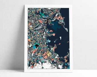 Boston, Travel Map, Boston Print, Unique Art, Boston City Map, Boston Map Poster, Boston Map Print, Boston, Massachusetts, Abstract Art