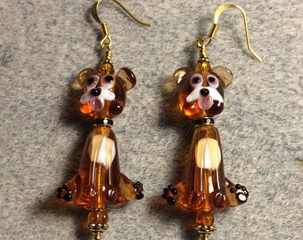 Caramel colored lampwork puppy dog bead dangle earrings adorned with caramel colored Czech glass beads.