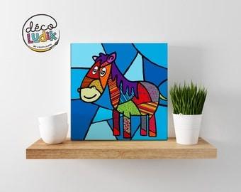 horse canvas print, horse canvas, wall art, kids room decor, nursery decor, art print, canvas print giclee, horse painting