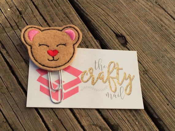 Valentine Bear Clip/Planner Clip/Bookmark.