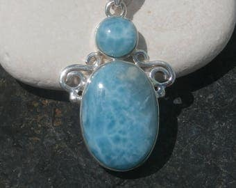 Larimar Stone Penant Handcrafted In Sterling Silver 925