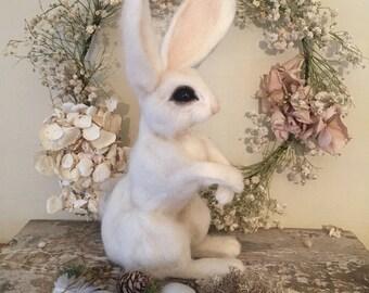 Needle felted white rabbit , spring , springtime , easter
