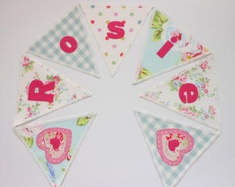 Personalized Cath Kidston Fabric Bunting; Priced per flag, English Rose, Spot, Gingham,New Baby, Birthday Gift, Personalised, Handcrafted,
