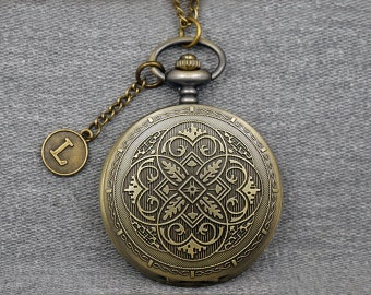 Antique Bronze Flower Pocket Watch Large Round Floral Fob Watch Mens Pocket Watch Pendant 46mm -for gifts -P662
