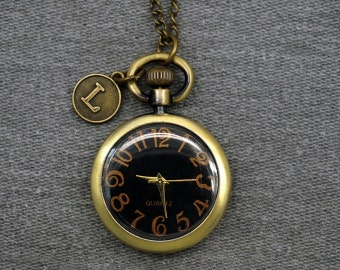 Simple Pocket Watch Antique Bronze Sweater Necklace Black Watch Face 32mm -for gifts -P611