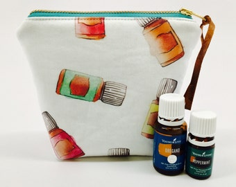 Essential Oil Bag, Essential Oil Case, Essential Oil Storage- holds 6 bottles, any brand! 5ML/15ML/Rollers- CHOOSE BLACK/WHITE at checkout!