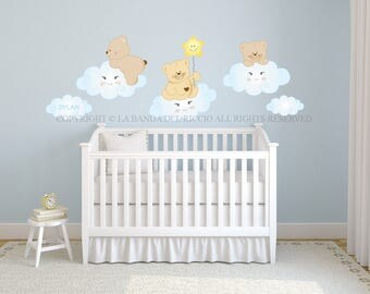 Wall decals kids Wall stickers Baby Nursery Room Decor Bears in the clouds