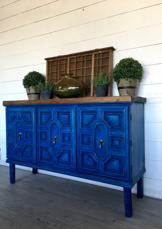 Foyer Cabinet Jeans : Blue buffet rustic vintage hutch painted entryway table