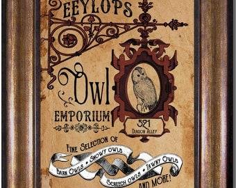 Harry Potter - Eeylops Owl Emporium - Diagon Alley Shop - Vintage Style Poster - Multiple Sizes 5x7, 8x10, 11x14, 16x20, 18x24, 20x24, 24x36