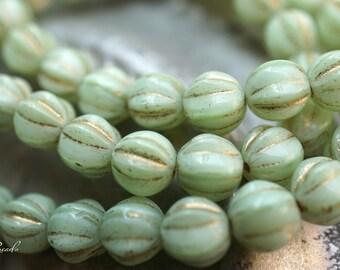 Minty Melons, Czech Beads, N1738