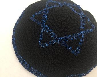Black & Blue Crochet Kippah, Star of David Kippah, Kippah, Kippot, Yarmulke, Crochet Kippot, Bar Mitzvah, Bat Mitzvah, Wedding Kippah