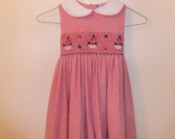 Red checked smocked dress