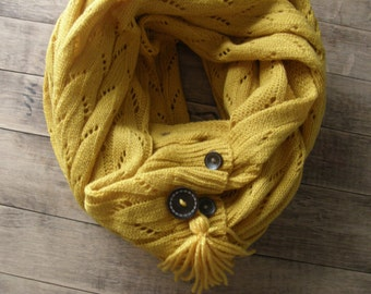 Winter Knit Scarf, Knitted Infinity Scarf, Women's Accessorries, Tassel Winter Scarf, Knitted Buttoned Scarf, Vintage Inspired, Mustard