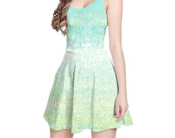 Aqua Dress, White and Mint Green Dress, Summer Print Dress, Short Dress, Sleeveless Dress, Fit and Flare, Womens Dresses, Designer Dress