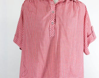 Vintage Red Checkered Blouse Red And White Cotton Shirt Short Sleeve Half Button Down Summer 4th Of July Picnic Plus Size
