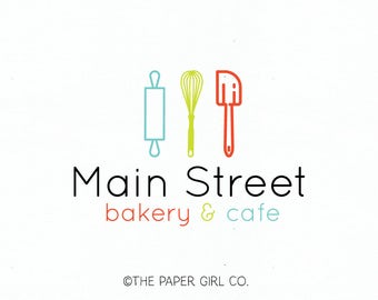 bakery logo design baking logo design bakers logo design rolling pin logo whisk logo spatula logo cake logo design premade cafe logo design