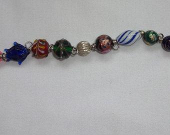 Danforth Pewter Italian glass beaded bracelet 1985