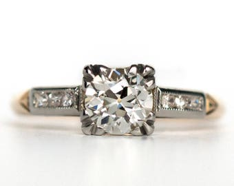 Circa 1930's Art Deco Platinum And 14K Yellow Gold .70ct Old European Cut Diamond Engagement Ring - VEG#824