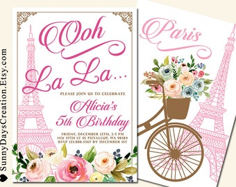 Paris Birthday Invitation, Eiffel Tower French Shower Invitation, Paris themed Invitation, Blue or Pink Floral Invitation
