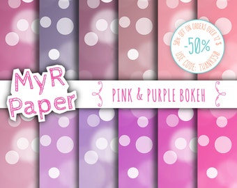 "Bokeh digital paper: ""PINK & PURPLE BOKEH"" girly bokeh, glowing dots, bokeh background for scrapbooking, printables, sparking, sparkles"