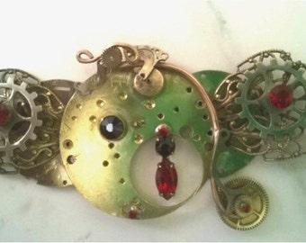 """Custom One of a Kind Steampunk Hair Clip, Steampunk Barrette  or Pendant Torch Soldered Penny Farthing Bicycle Hair Clip """"Penny's Farthing"""""""
