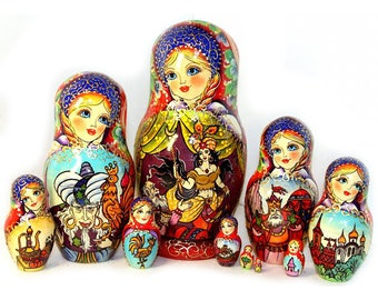 Nesting dolls Tale of Shamahanskaya queen. Russian Large big matryoshka kod952m