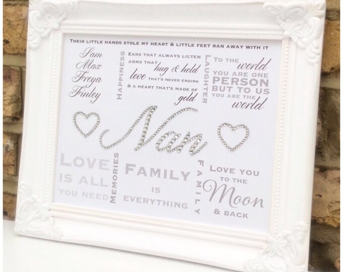 Personalised Crystal print with multiple quotes   Auntie, Sister, Mum, Nan any Family or Friend   quotes   Wall art   Framed   Custom prints