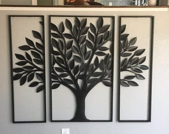 3 Pc Tree Metal Art   Metal Wall Hanging   Home Decor   Metal Tree Art