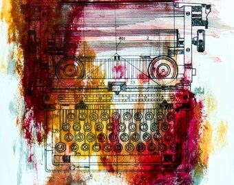 Postcard sized - Typewriter Patent Acrylic Painting print