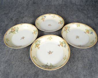 4 X Made In Japan Salad Bowl With Orange Trim And Floral Design