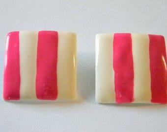 HOT Pink & Cream Square Enamel Pierced Earrings