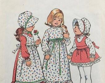 Holly Hobbie Dress Apron And Bonnet Girls Size 3 Children's Simplicity 6635