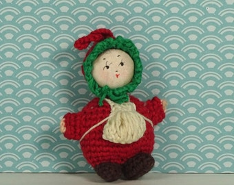 Vintage crochet doll Chinese 1970s red white green