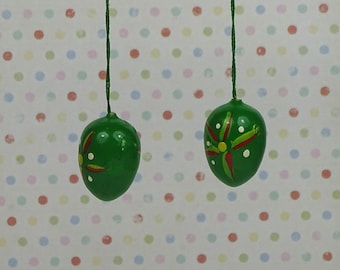 Vintage Easter egg ornaments 1970s wooden green