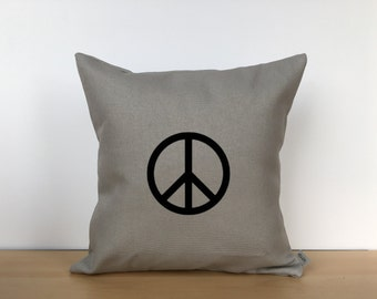 Embroidered peace sign pillow, throw pillow, custom pillow, embroidered pillow, canvas pillow, personalized pillow, housewarming gift