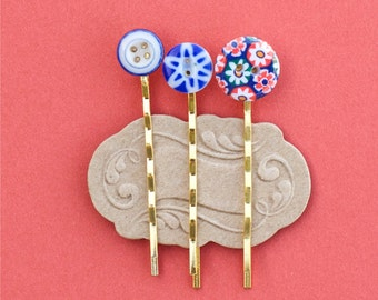 Button Hairpin Wedding Bridal Hair Clip Bobby Pin Whimsical Hair Jewelry Accessory Gift for Her Under 10