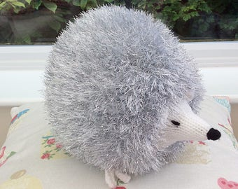 Knitted silver Tinsel Hedgehog  / knitted soft toys / soft plushie toy / cute hedgehog / knitted animals / wool animals / tinsel yarn