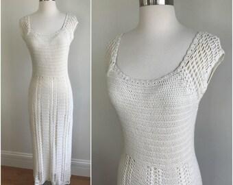 Vintage 1990s Open Weave Cream White Knit Crochet Bohemian Dress Festival Grunge S M