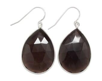 Smokey Quartz Gemstone Earrings - Drop Earrings - Dangle Earrings - Gemstone Earrings - Gold Earrings - Silver Earrings
