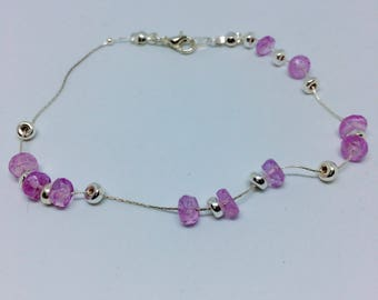 lilac and silver bracelet, purple and silver bracelet, lilac moonstone bracelet, lilac moonstone and sterling silver bracelet for her