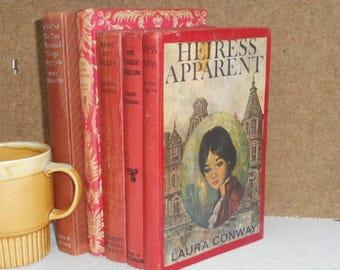 Vintage Book Bundle 1940s-1960s - Set of Five Books -  Red Hard Cover