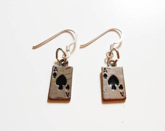 Tiny playing card ace of spades earrings - small deck of poker cards earrings - original funny earrings