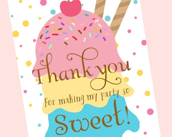 Ice Cream Thank You Card Printable, Ice Cream Birthday Theme, Thank You Card Note, Printable Thank you card - Instant Download