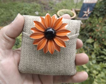 Orange Metal Daisy Brooch