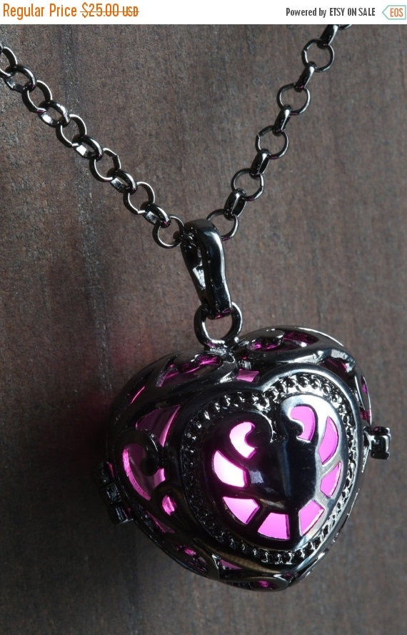 ON SALE TODAY - Pink Glowing Pendant Necklace heart Locket Black, Romantic Gift for Her, Fairy glow Jewelry