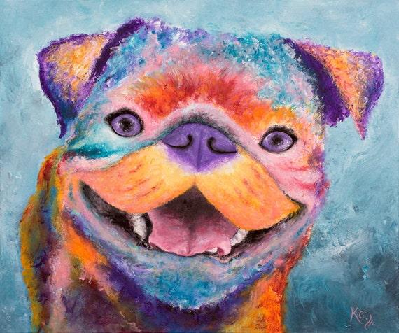 "Pug Art - Pugs, Pug Print, Pug Gift. Dog Art Print of a Dog Painting. Pug Art Gift. Dog Mom Gift. Pug Art Print ""George the Pug""."